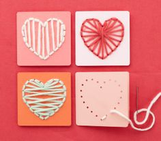 Kids craft idea- Punch holes in canvas like a flower or heart and let them sew with yarn.