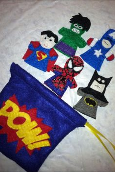 Hand Sewn Superhero Finger Puppets (Superman, Batman, Spider-Man, Hulk, Captain America)