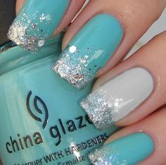 Tiffany blue and silver sparkle