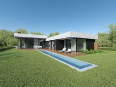 INDIVIDUAL PROJECTS - ARCHLAB Modern House Facades, Modern House Design, Facade House, House Plans, Villa, Mansions, Luxury, House Styles, Outdoor Decor