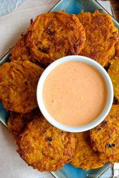 Sweet Potato Fritters with Sriracha Mayo  ciaochowbambina.com. Great way to get kids to eat sweet potatoes!