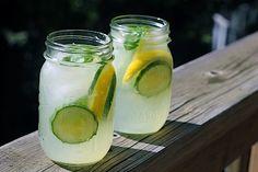 cucumber lemonade w/ basil cocktail