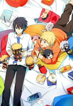 Find images and videos about naruto, sasuke and sasunaru on We Heart It - the app to get lost in what you love. Naruto Vs Sasuke, Anime Naruto, Naruto Team 7, Naruto Cute, Naruto Shippuden Anime, Naruto Family, Sasunaru, Narusaku, Boruto