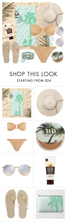 """""""OOTD - Sand Vs Mint"""" by artbyjwp ❤ liked on Polyvore featuring Melissa Odabash, Urban Decay, Ray-Ban, Lavanila, Havaianas and Panacea"""