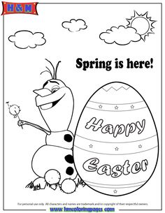 disney frozen coloring pages   Disney Frozen Olaf Spring Easter Coloring Page