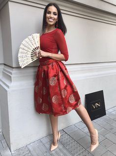 made by VELISNOLIS,  brocade Waist Skirt, Midi Skirt, High Waisted Skirt, Red Skirts, High Low, Dresses, Fashion, Vestidos, Moda