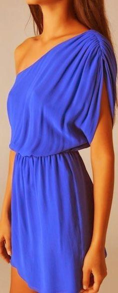 Off Shoulder Blue Silk Dress