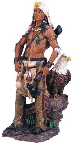 Native American Warrior w/ Eagle Collectible Indian Figurine Sculpture - American, Collectible, Eagle, Figurine, Indian, Native, Sculpture, Warrior