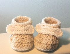 Unisex Baby Boots with Button Strap (Tan/Cream) by MadeInFlight on Etsy