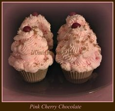 Pink Cherry Chocolate Cupcake Tarts! Pink Sugar, cherry chocolate and chcocolate cake scented sprinkles. Please contact me to order. Thank you :-)   lecrissashomemadecandles@yahoo.com