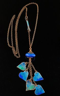 Hearts of Blue Necklace indie heart necklace copper by driftnbleu