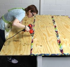 DIY Room Divider Bulletin Board   @Christine Turner does this look like something feasible? the concept of plywood connected by hinges, covered w fabric…?