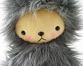 Kawaii Teddy Bear Plushie Baby Blue Faux Fur Large PIPER