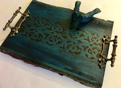 Handmade and Handcrafted Decorative Tray With Medieval Mamluk Inspired Arabesque Pattern And Wood Carved Birds - Coffee Table Decor. This elegant one-of-a-kind tray has been embellished with an adapted Mamluk arabesque design originating from the Middle Ages. It is perfect for a desk, coffee table, or any surface space to which you can add a little historical charm. The Mamluks were a slave dynasty which ruled Egypt from the 13th to 15th centuries and transformed Cairo into the city of a...