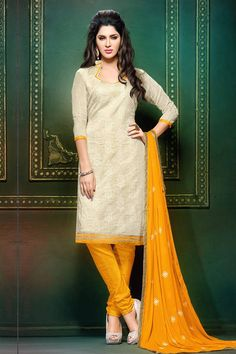 Cream Khadi and Fancy Silk Dress Material Cream color top is matched with Yellow santoon bottom and Yellow chiffon dupatta.  #befunkies #salwarkameez #yellowsalwarkameez #top  #onlineshopping #designersuit #suit #silksuit