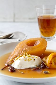 Tea Poached Pears with Apricots and Cherries