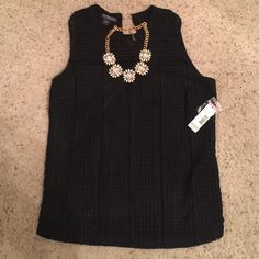 Brand New Crochet Textured Top Super cute and classy top! (Necklace not included) Brand new with tags! Perfect with some jeans and black heels and a cute blazer!  Covington Tops Blouses