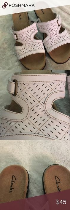Very gently used clarks leather sandals - size 9 Beautiful very very gently used leather sandals. Velcro closure so they can be adjusted to the perfect fit. Clarks Shoes Sandals