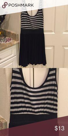 Striped T shirt dress with elastic waist band Black and grey striped T shirt dress with elastic waist band Molli & Mia Dresses