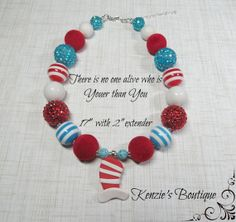 Youer Than You Dr Seuss Day Chunky Beaded by KenziesBoutique1, $15.99