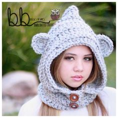 Hooded Bear Cowl crochet all sizes made to by BeccasBeanies