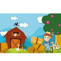 Animal Wall Mural- Farm Boy & Barn Kids Wall Murals, Farm Boys, Wallpaper Murals, Farm Animals, Farming, Nursery Decor, Barn, Decorating, Children