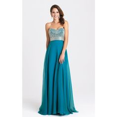 Madison James 16372 Prom Long Dress Long Strapless Sleeveless ($450) ❤ liked on Polyvore featuring dresses, gowns, formal dresses, teal, long evening dresses, formal evening gowns, long prom dresses and prom gowns