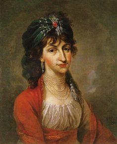 """Portrait of Kazimiera Potocka-Wilzyny dressed """"a la turque""""by Kazimiers Wojniakowski, 1794"""