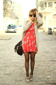 red dress, slouchy sweater, tights and oxfords