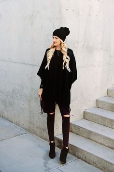 all black outfit // black pom pom hat, black poncho, black booties #sweater #outfit #winter