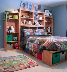 kids bedroom with bookshelf headboard