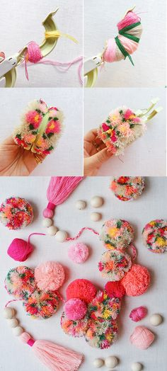 DIY Floral Pom Poms with flowers! The post DIY Floral Pom Poms & DIY appeared first on Flower garland . Pom Pom Crafts, Yarn Crafts, Diy And Crafts, Crafts For Kids, Arts And Crafts, Pom Pom Diy, Pom Pom Tutorial, Tutu Tutorial, Modern Crafts