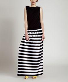 Look what I found on #zulily! Black Stripe Tonia Maxi Dress by KORTAS #zulilyfinds