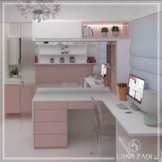 Girl bedroom designs - Malu room in the favorite colors of the small 💖 Project colors favorite project small DecorationBureau Cute Bedroom Ideas, Cute Room Decor, Girl Bedroom Designs, Teen Room Decor, Home Room Design, Interior Design Living Room, House Design, Small Room Bedroom, Room Decor Bedroom