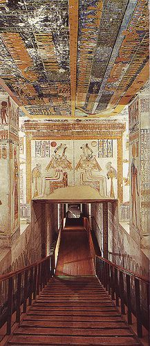Ramses VI Tomb (KV9) adjacent to tomb of King Tutankhamen. A staircase leads down to the entrance where the lintel is decorated w/the traditional scene of Isis & Nephthys kneeling at either side of the sun disc