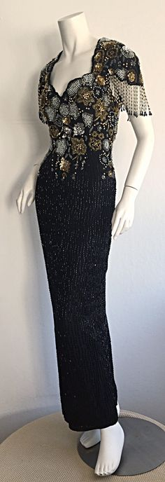 Incredibly Rare Vintage Bob Mackie Gladiator Grecian Beaded Dress w/ Open Back image 4