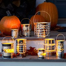 how to make tin-can luminaries for fall and halloween