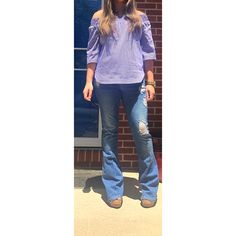 Ootd New York and co off the shoulder striped top and flare ripped jeans and brown wedges. Www.yourstylesos.weebly.com