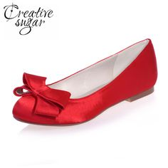 Cheap satin flats, Buy Quality dress shoes directly from China slip on Suppliers: Creativesugar sweet two layer bowknot bow satin flats lady bridal wedding prom cocktail evening dress shoes slip ons red white
