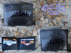 Genuine Ostrich Bi fold wallet / Men's Ostrich wallet/ Black Ostrich Bi fold Wallet by DannyCollinsLeather on Etsy