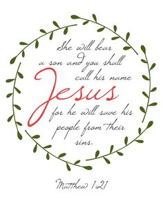 Etsy printable word art by Sarabell Studio, Inspired by Matthew 1:21 She will bear a son and you will call his name Jesus for he will save his people from their sins, Matthew 1, Christmas wall art, christmas gift, scripture art, printable art, printable verse, christian wall art