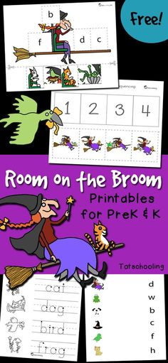 FREE printables to go along with the Halloween book Room on the Broom. Great for preschool and kindergarten kids, the activities include story sequencing, letter sounds, sorting and tracing.