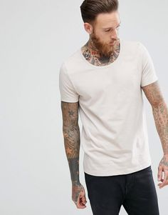 #Valentines #AdoreWe #ASOS - #ASOS ASOS T-Shirt With Scoop In Cream - Beige - AdoreWe.com
