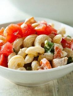 Creamy ranch and crunchy bacon are the perfect addition to a simple chicken pasta salad. Serve as a side, or as a lighter weeknight main dish. It's ready in 30 minutes, and frozen sweet peas help it come together in a flash. To save some calories, use turkey bacon and reduced-fat ranch dressing.