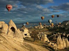 Hot air balloons in Cappadocia.