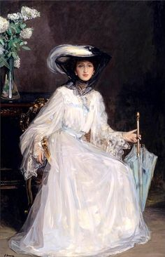 Portrait of Lady Evelyn Farquhar, 1906 by Sir John Lavery (Irish .although Irish, Lavery spent much of his formative life and career in Scotland and was a central figure of The Glasgow Boys. John Singer Sargent, Classic Paintings, Beautiful Paintings, Art Nouveau Pintura, Irish Painters, Glasgow School Of Art, Irish Art, Victorian Art, Renoir