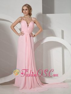 Customize Baby Pink Prom Dress With Halter Neckline Brush Train Chiffon  http://www.fashionos.com/  http://www.facebook.com/quinceaneradress.fashionos.us  The luxurious fit and flare wedding dress with glamorous spaghetti straps and an alluring plugged V-neckline adorned by ruchings. The ruched empire waist adds to its fullness and drama. A soft and flowing a-line skirt with a splendid sweep train is a focal point all its own.