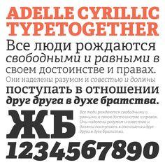 Adelle Cyrillic type specimen