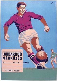 Vintage Hungarian Hungary Football Poster A3 Print