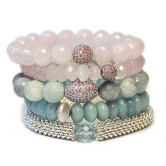 "This stack of five bracelets, is made of pink quartz, aquamarine, blue jade and a silver porcupine filler. It is part of our 2016 Pantone Serenity and Rose Quartz Collection. ""Weightless and airy, lik"